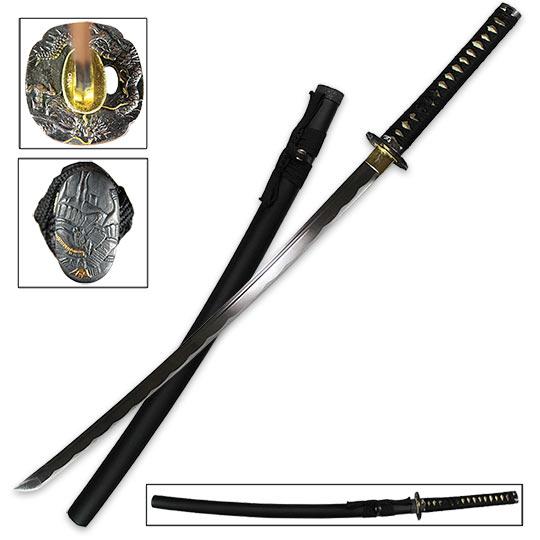 Black dragon katana sword