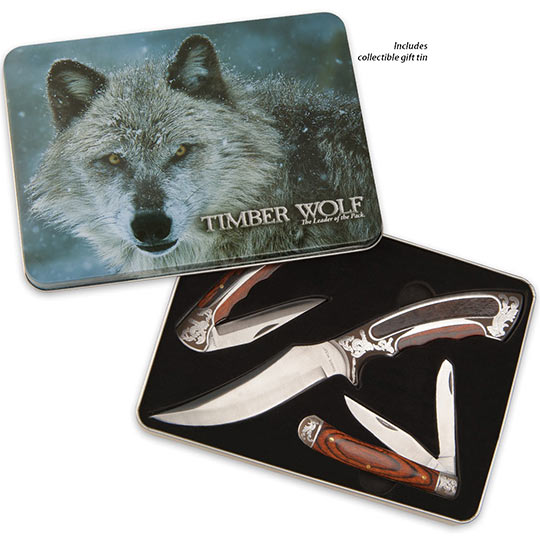 Collector S Edition 3pc Knife Showcase Set W Display Tin
