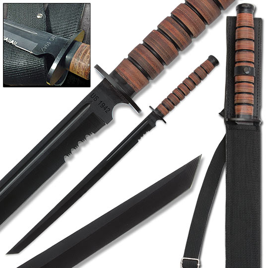 U.S. 1942 Military Combat Sword w/ Stacked Leather Handle ...