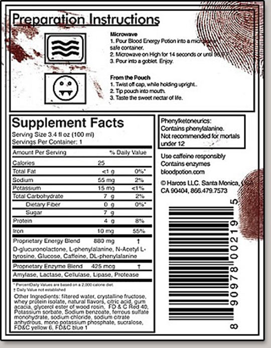 Blood energy drink label details