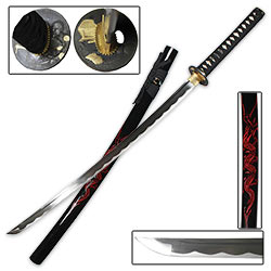 Hand Forged Samurai Sword with Red Dragon Scabbard