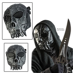 ABS Skeleton Reaper Tribal StyleAirsoft Face Mask Silver / Black