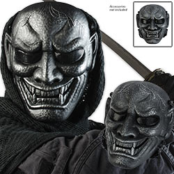 Black/Silver Samurai Warrior Skeletal Airsoft Face Mask ABS Composite