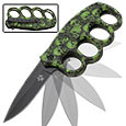 Green Skull Mayhem Camo Pattern Assisted Opening Trench Knife