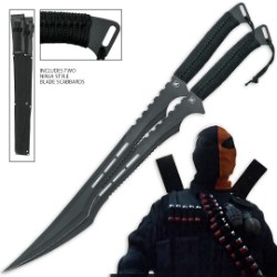 Twin Deathstroke Swords Duo Two Piece Set w/ Matching Scabbards