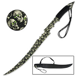 Green Eyed Skull Mayhem Camo Pattern Fantasy Sword w/ Lanyard And Sheath