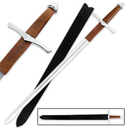 Medieval Renaissance Long Sword With Scabbard – Leather Wrap