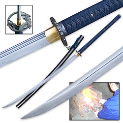 Shinwa Royal Blue Odachi Damascus Steel Sword