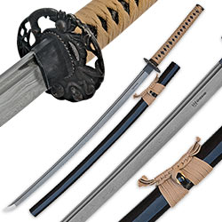 Shinwa Regal Makaku Katana / Samurai Sword - Hand Forged Damascus Steel - Custom Cast Macaque Monkey Tree Tsuba  - Genuine Ray Skin; Hand Lacquered Saya - Fully Functional, Battle Ready, Full Tang