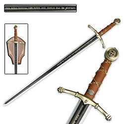 Crusader Crossing Collectible Long Sword w/ Wood Display Plaque