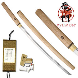 "Ryumon – Natural Shirasaya Katana Sword w/ Real Buffalo Horn Koiguchi 40.9"" ov."