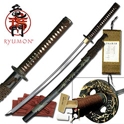 Sokojikara Shadow Grove Handmade Katana / Samurai Sword - Hand Forged, Clay Tempered 1065 High Carbon Steel - Genuine Ray Skin; Iron Tsuba - Functional, Full Tang, Battle Ready