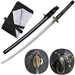 Ten Ryu –Damascus Steel Katana Sword, 7mm Blade Japanese