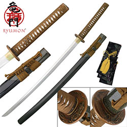 Sokojikara Kodama Handmade Katana / Samurai Sword - Hand Forged, Clay Tempered 1060 High Carbon Steel - Genuine Ray Skin; Bronze Tsuba - Functional, Full Tang, Battle Ready
