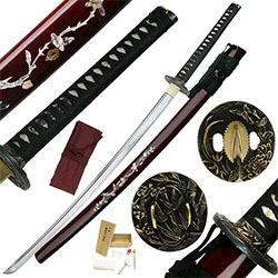 "Ten Ryu – 40.9"" Carbon Steel Japanese Katana Silk & Ray Skin Tsuka, 7mm Blade"