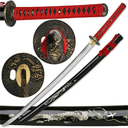 Ten Ryu – 1045 Carbon Steel Japanese Maru Tech Katana Sword 7mm Blade