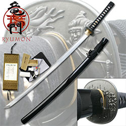 "Ryumon – 1095 Carbon Samurai Warrior Guard Ray Skin Katana – 41.5"" ov."