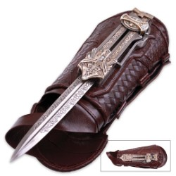 Assassin's Creed Hidden Blade of Aguilar | Retractable Stainless Steel Blade | Faux Leather Gauntlet