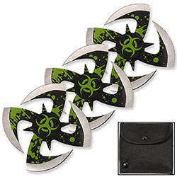 Biohazard Ninja Throwing Knives 3pc Set w/ Pouch