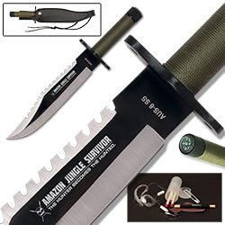 Jungle Bowie Survival Knife w/ Kit & Leather Sheath