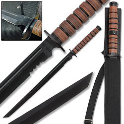 1942 Military Combat Sword w/ Stacked Leather Handle