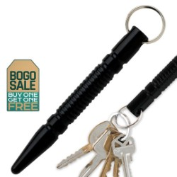 Black Aluminum Point Kubaton Keyring 2 for 1