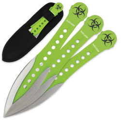 Biohazard Throwing Knife Set - Double Edged Radioactive Two-tone