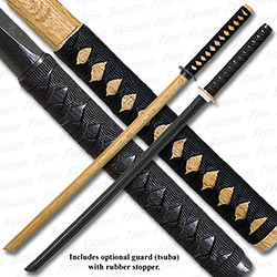 Black & Natural Bokken Practice Sword Set