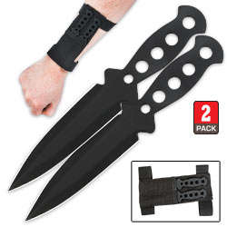 2 Pc. 5 In Double Edged Spear Point Throwing Knife Set w/ Nylon Wrist Sheath