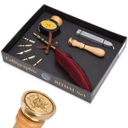 Lo Scarabeo Ritual Calligraphy and Wax Seal Kit - Quill Pen, 5 Nibs, Ink, Wax, Seal