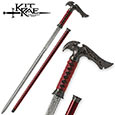 Kit Rae Sword Cane - Axios - Crimson Damascus