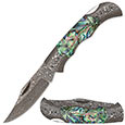 Damascus Folding Knife w/ Abalone Scales