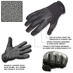 Defense SAP Gloves w/ 8oz Steel Shot - SIZE XL