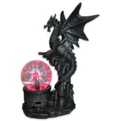 """Dragon Power"" Sculpture with Electric Plasma Ball"