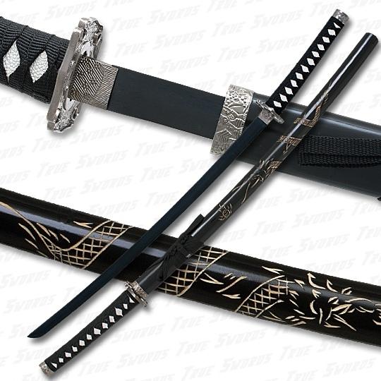 Black Katana Sword w/ Dragon Engraved Scabbard & Black ...
