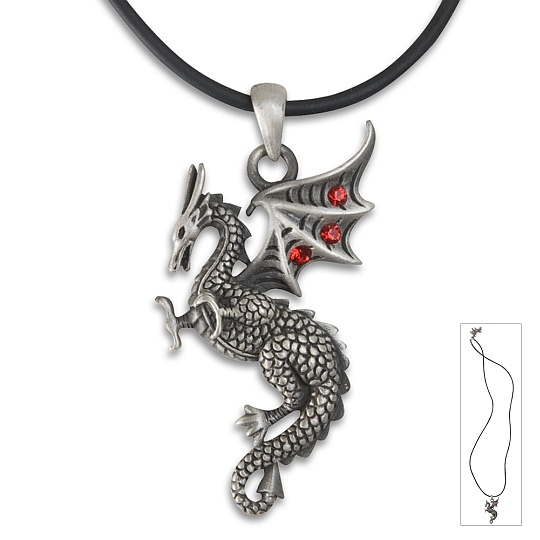 Dragon Pendants on Dragon In Flight Necklace Pendant W  Red Gems