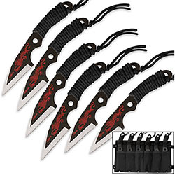 Dragon Talon Throwing Knife Set - 6pc w/ Leg Sheath