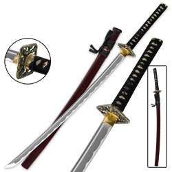 Dueling Dragon Crimson Katana – Hand-Forged Carbon Steel