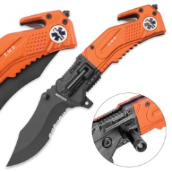 Black Legion EMS EDC Assisted Opening Pocket Knife with Integrated LED Flashlight