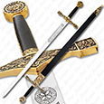 Excalibur Sword - Deluxe Edition w/ Gold Finish & Scabbard