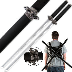 Two Piece Fantasy Sword Set w/ Shoulder Scabbard Harness
