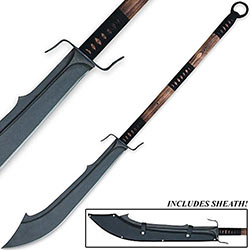 Hand Forged Warrior Naginata Sword w/ Thick Scimitar Blade