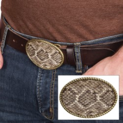 Genuine Rattlesnake Skin Belt Buckle