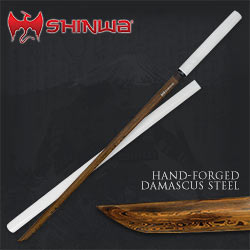 Shinwa Black Damascus White Knight Katana Sword