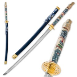 Highlander Closed Mouth Dragon Katana with Saya - 1045 High Carbon Steel Blade - Battle Ready
