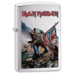 "Iron Maiden Brushed Chrome Zippo Lighter - ""The Trooper"" Album Art"