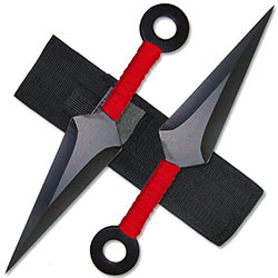 Kunai Throwing Knives - Red 8.5 Inch Set w/ Sheath