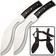 Dual Kukri Knives – Two Piece Twin Kukri Set w/ Sheath