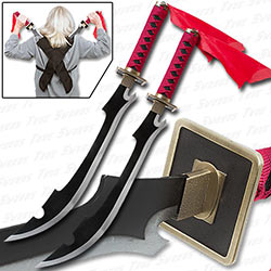 Kyouraku Shunsui Twin Sword Set w/ Backstrap - Anime Replica