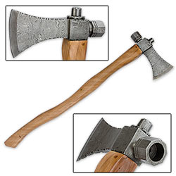 Antique Style Damascus Steel Tomahawk Axe – Olive Wood